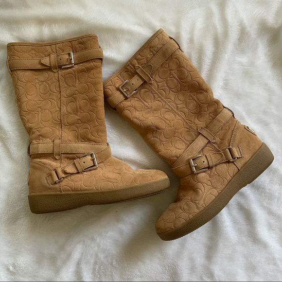 Coach Thelma Tan Suede Logo Boots size 7.5